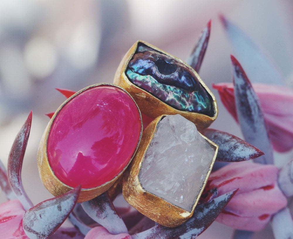 Gold-plated Ring - Handmade Pearl, Rose Quartz and Pink Banded Onyx Rough Cut Gemstone Ring - Sitara Collections