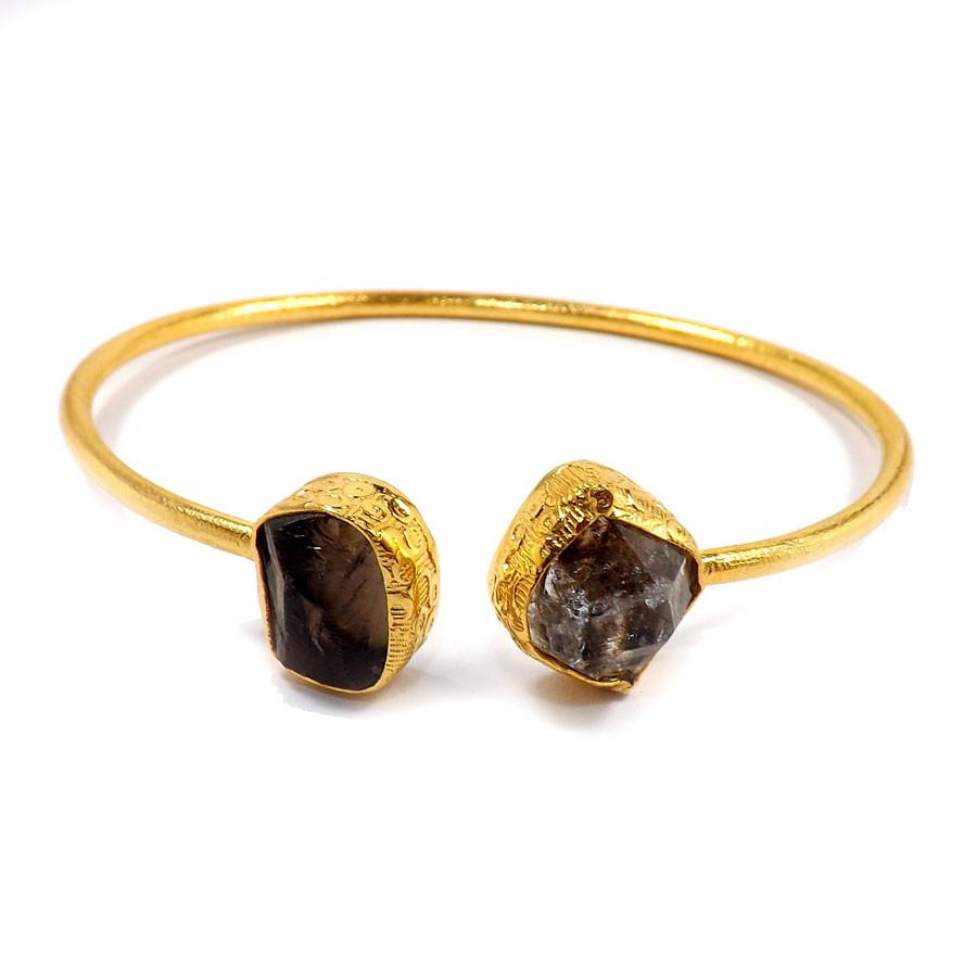 Raveena Herkimer Diamond + Smoky Quartz Bangle