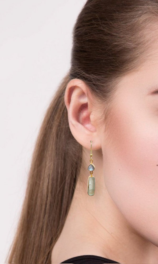 Gold-plated Earrings - Labradorite and Fluorite Rough Cut Gemstone Handmade Earrings - Sitara Collections
