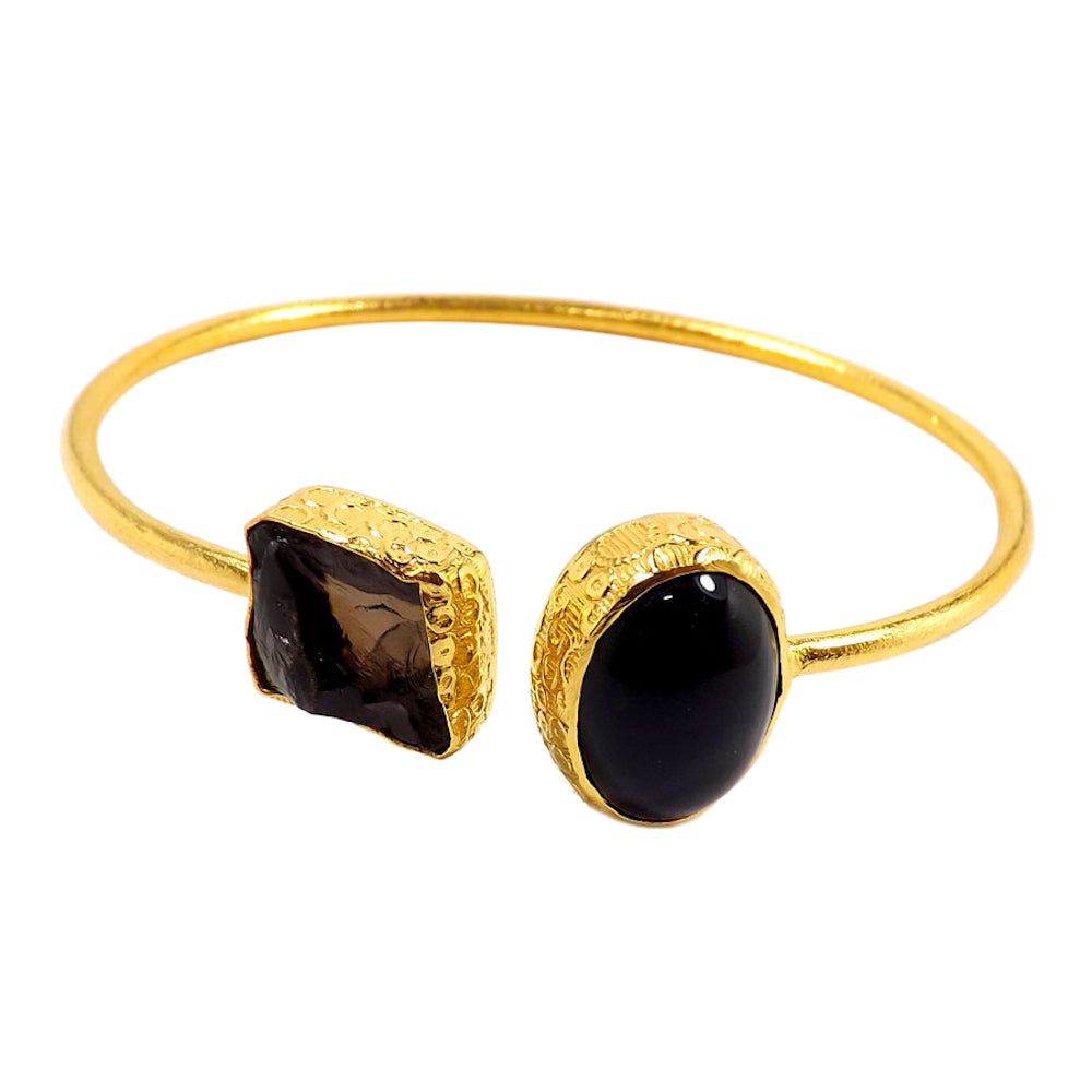 Rachita  Smoky Quartz + Onyx Bracelet