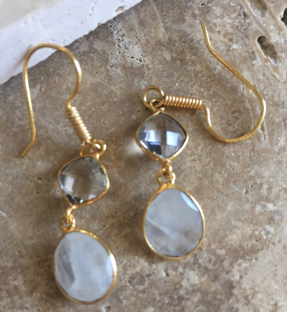 Crystal and Rainbow Moonstone Gold Overlay Earrings