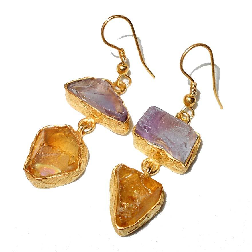 Katsina Citrine + Amethyst Earrings