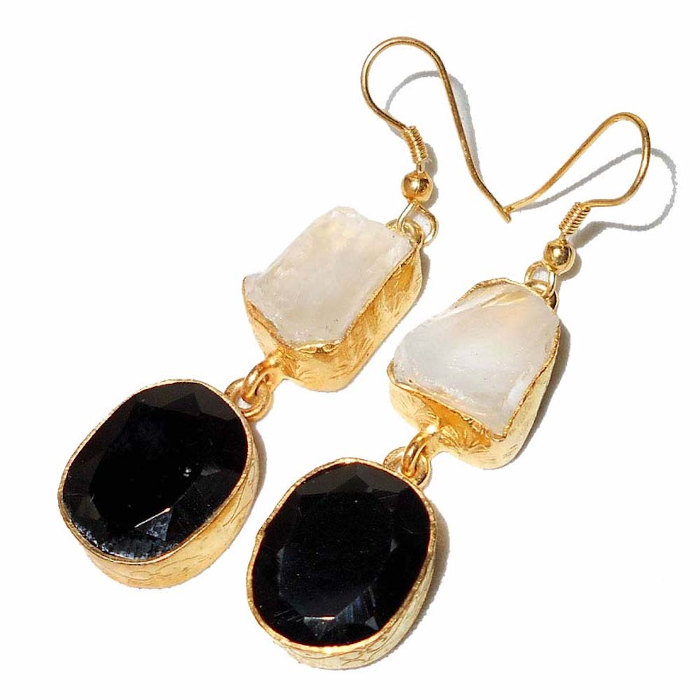 Paradise Black Onyx + Crystal Earrings