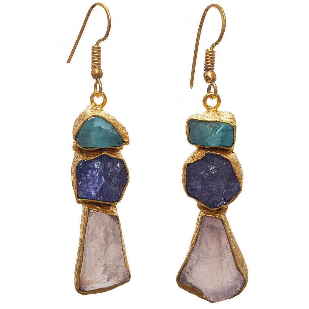 Devi Chalcedony, Tanzanite & Rose Quartz Earrings
