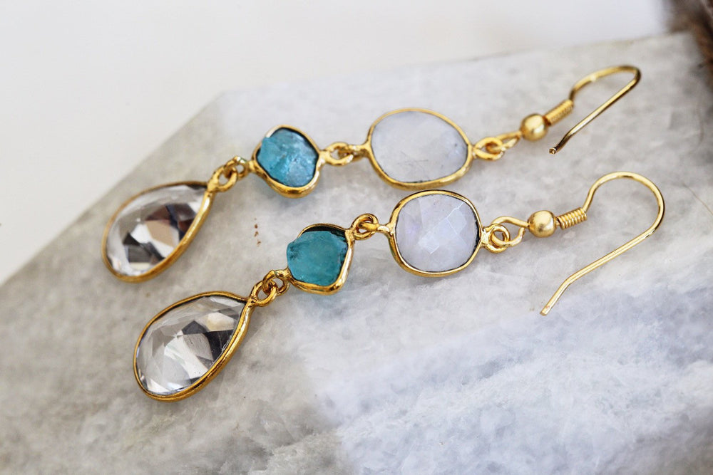 Gold-plated Earrings - Rainbow Moonstone and Apatite Rough Cut Gemstone Handmade Earrings - Sitara Collections