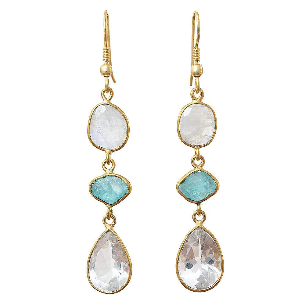 Ritu Moonstone + Apatite + Crystal Earrings