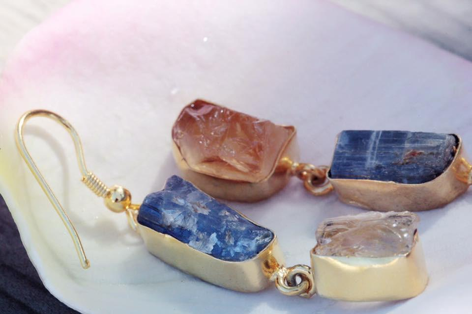 Gold-plated Earrings - Blue Kyanite and Citrine Rough Cut Gemstone Handmade Earrings - Sitara Collections