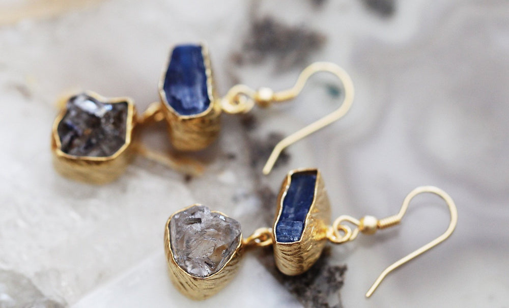 Gold-plated Earrings - Kyanite, Herkimer Diamond Rough Cut Gemstone Handmade Earrings - Sitara Collections