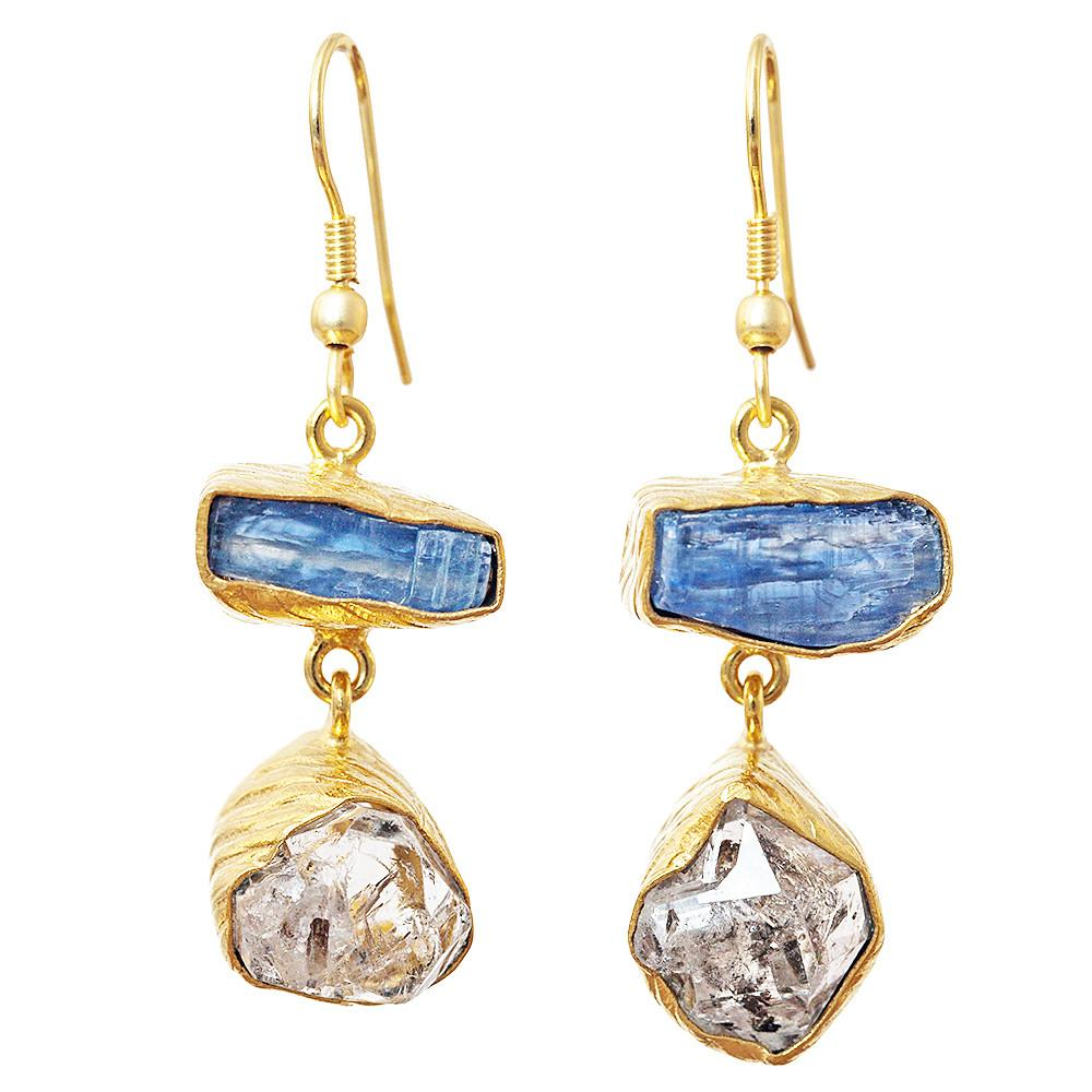 Lia Kyanite + Herkimer Diamond Earrings