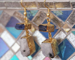 Gold-plated Earrings - Rainbow Moonstone and Kyanite Rough Cut Gemstone Handmade Earrings - Sitara Collections