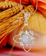 925 Sterling Silver Necklace - Handmade Rainbow Moonstone Cabochon Pendant Necklace - Sitara Collections