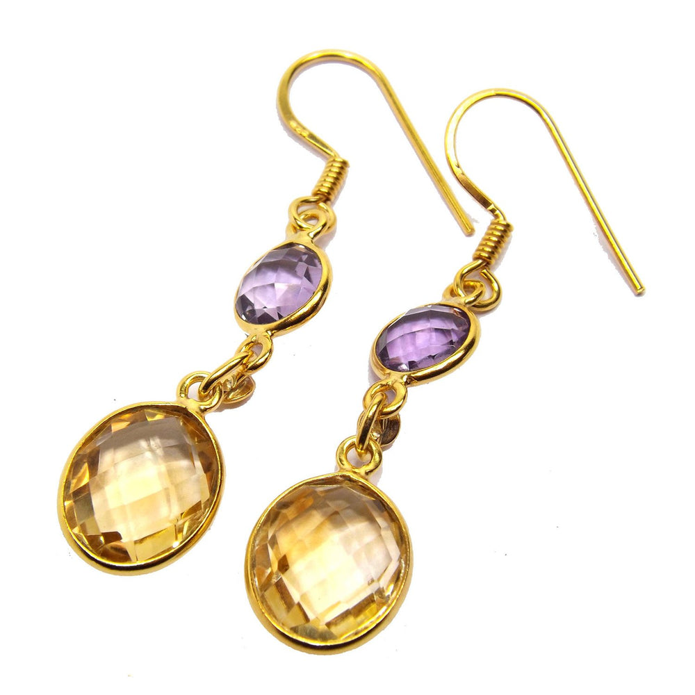 Dayita Citrine & Amethyst Earrings