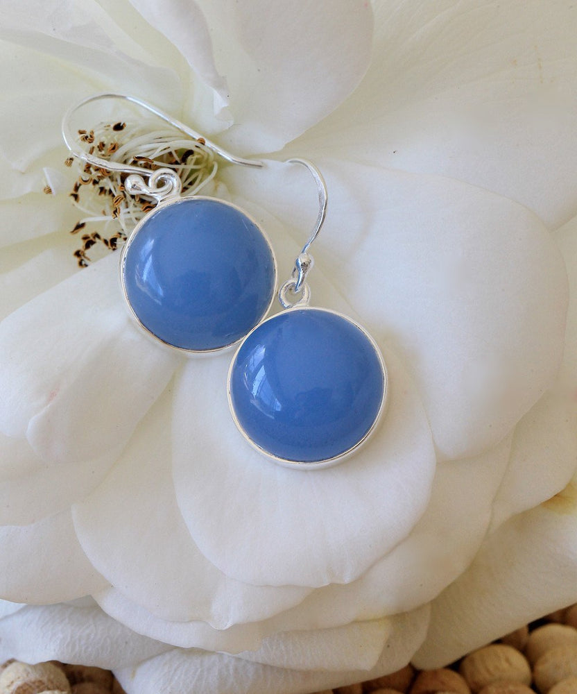 925 Sterling Silver Earrings - Handmade Blue Chalcedony Earrings - Sitara Collections