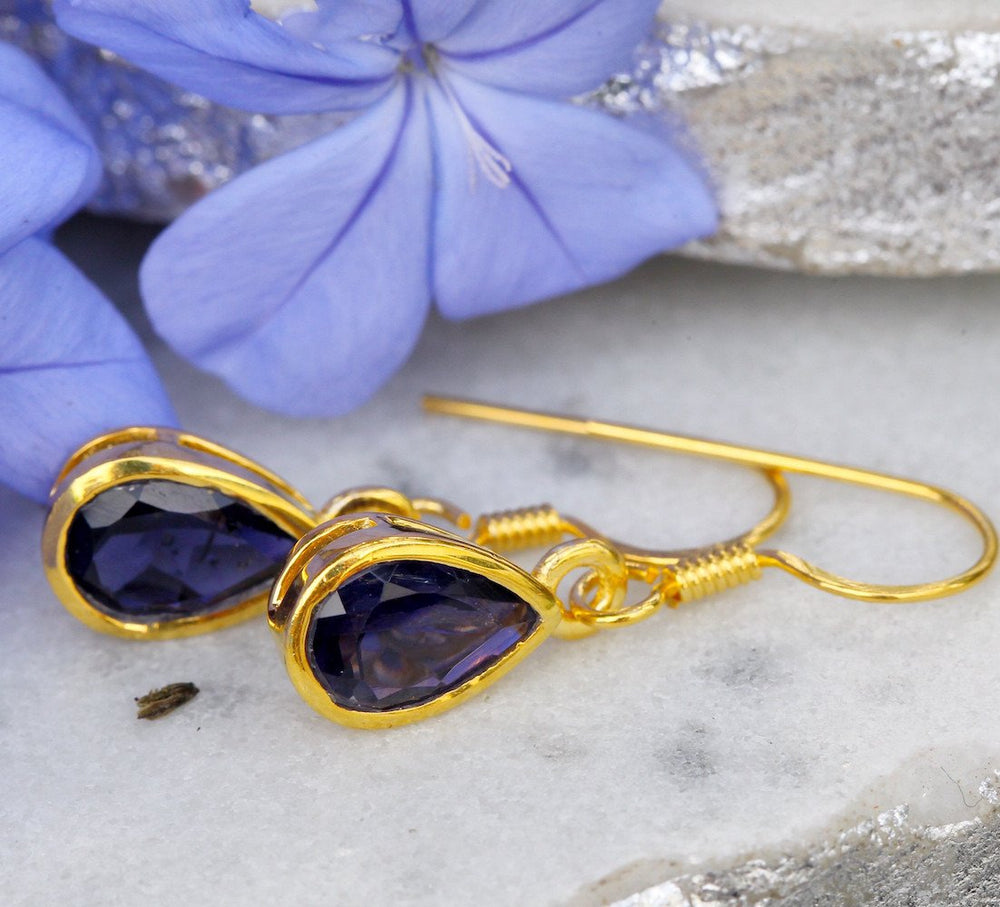 Gold-plated Sterling Silver Earrings - Gemstone Drop Handmade Earrings - Sitara Collections