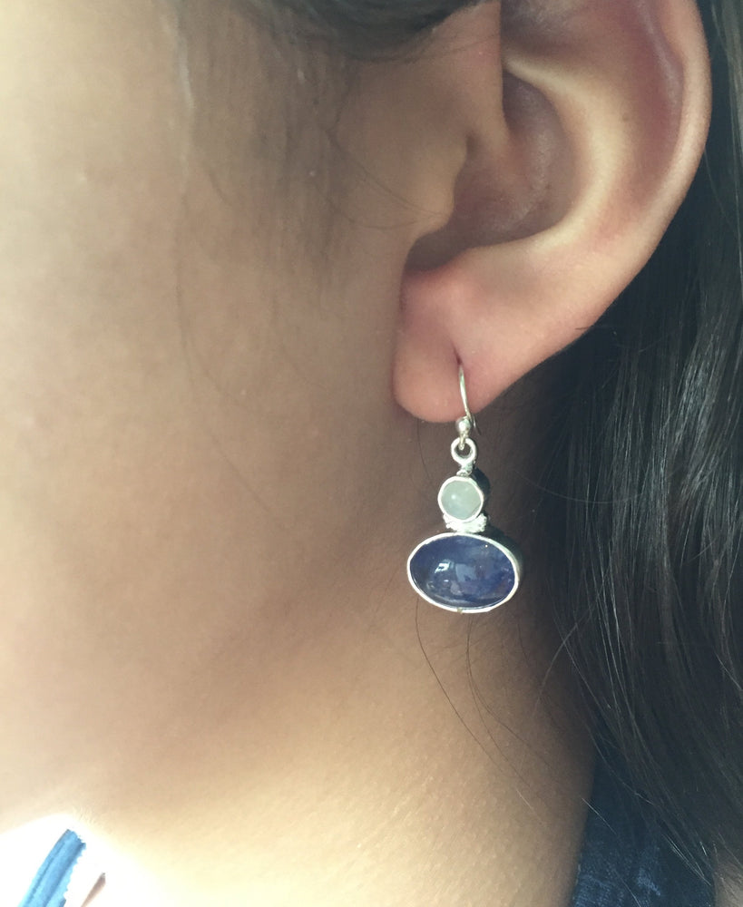 Upma Rainbow Moonstone + Tanzanite Gemstone Earrings