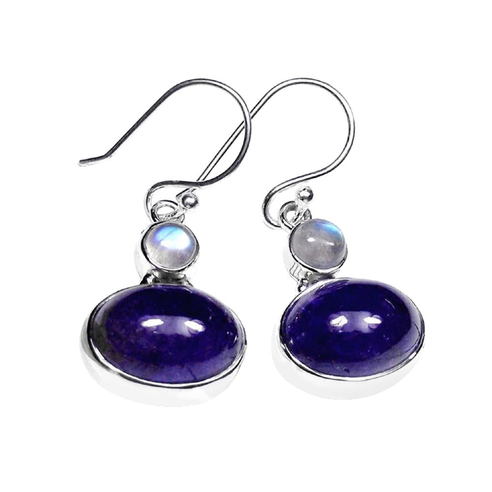 Upma Rainbow Moonstone + Tanzanite Earrings