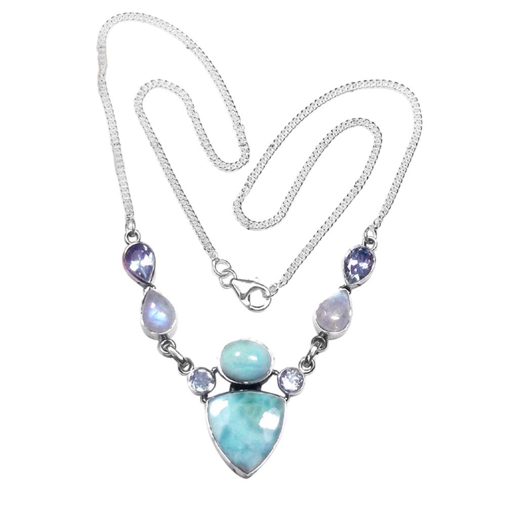Aahana Larimar + Moonstone Necklace