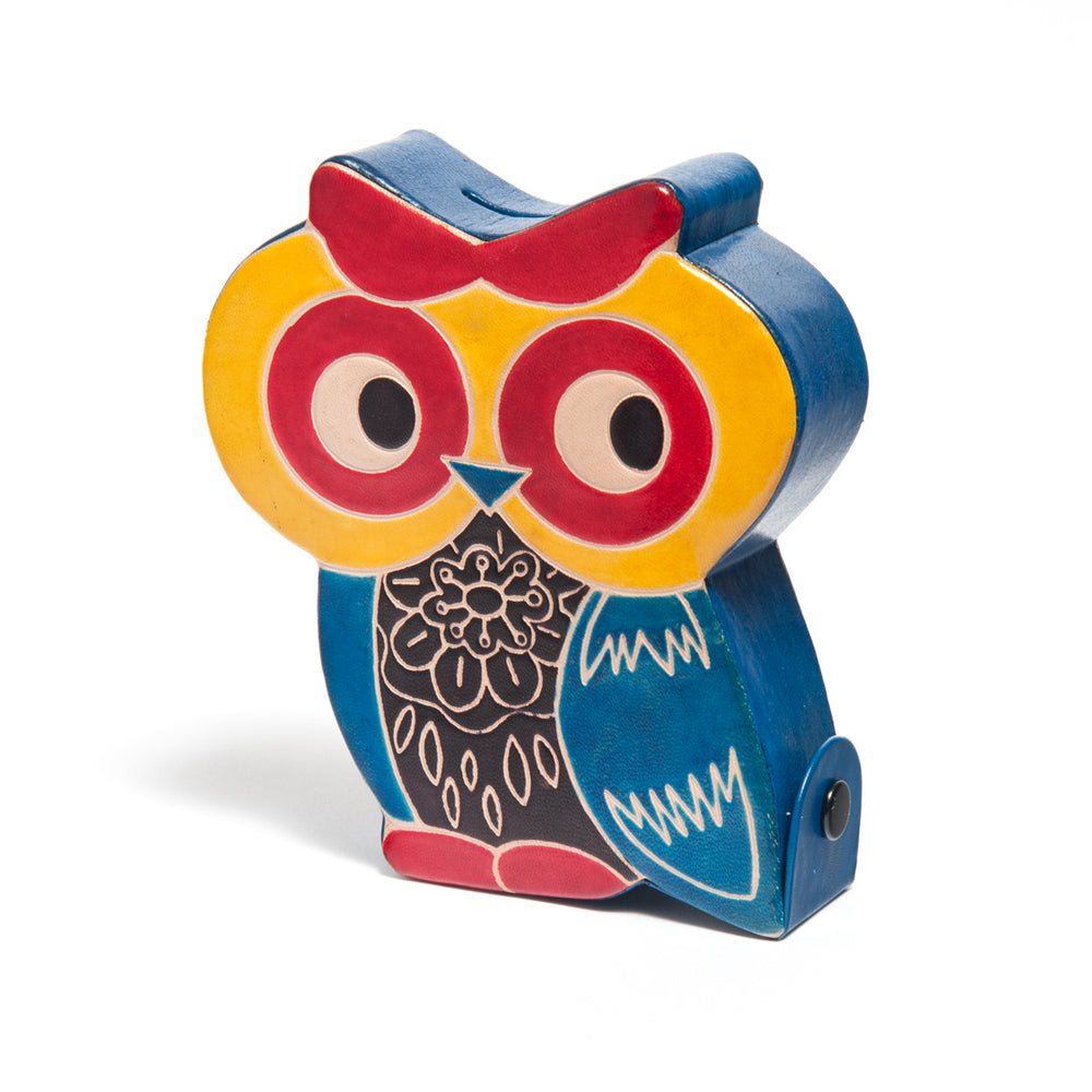 Leather Owl Piggy Bank