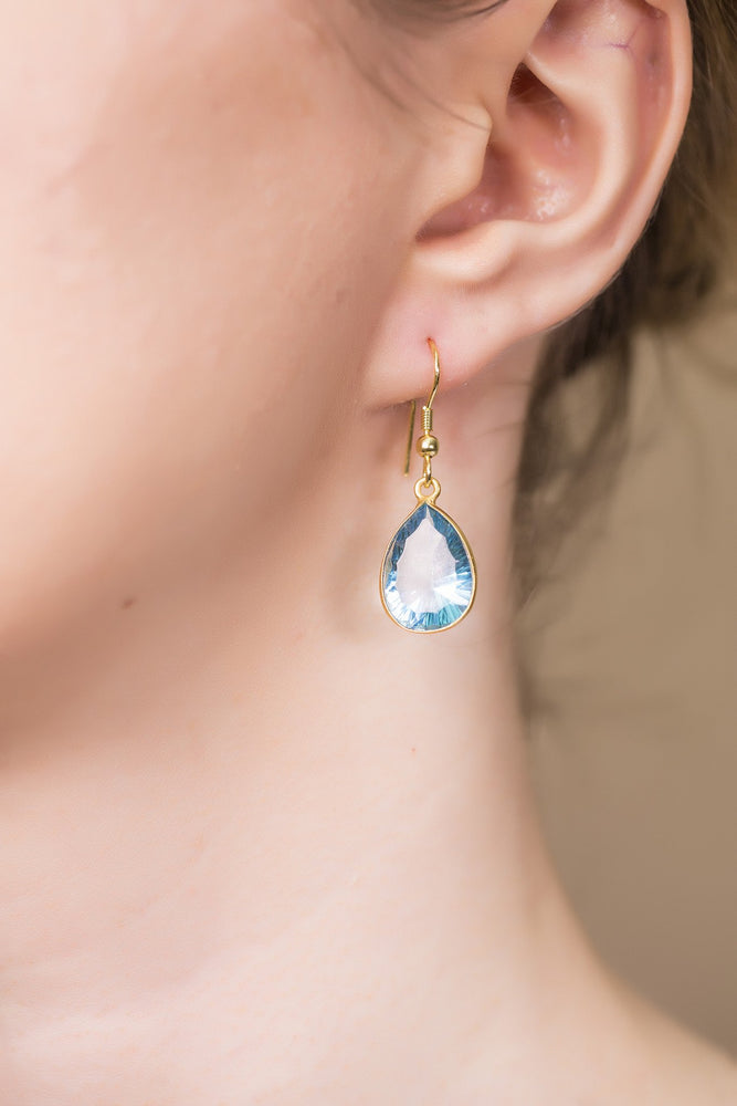 Gold-plated Earrings - Concave Cut Blue Hydro Glass Handmade Earrings - Sitara Collections