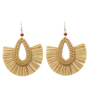 Straw Tassel Earrings
