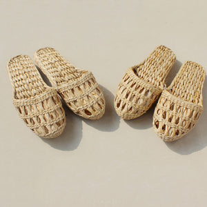 Beachaholic- women's straw slippers handmade