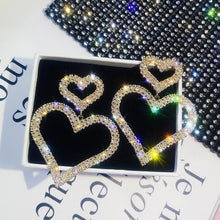 Exaggerated -fashion crystal double heart earrings