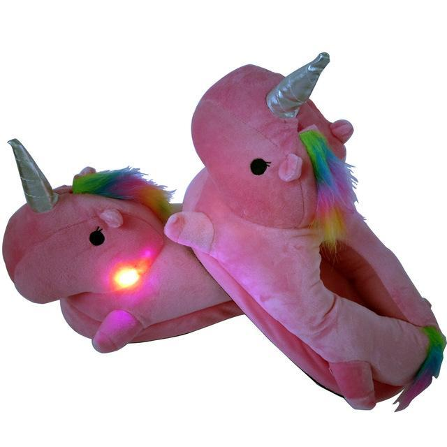 passion de licorne all pink light / 36 Chaussons Licorne lumineux