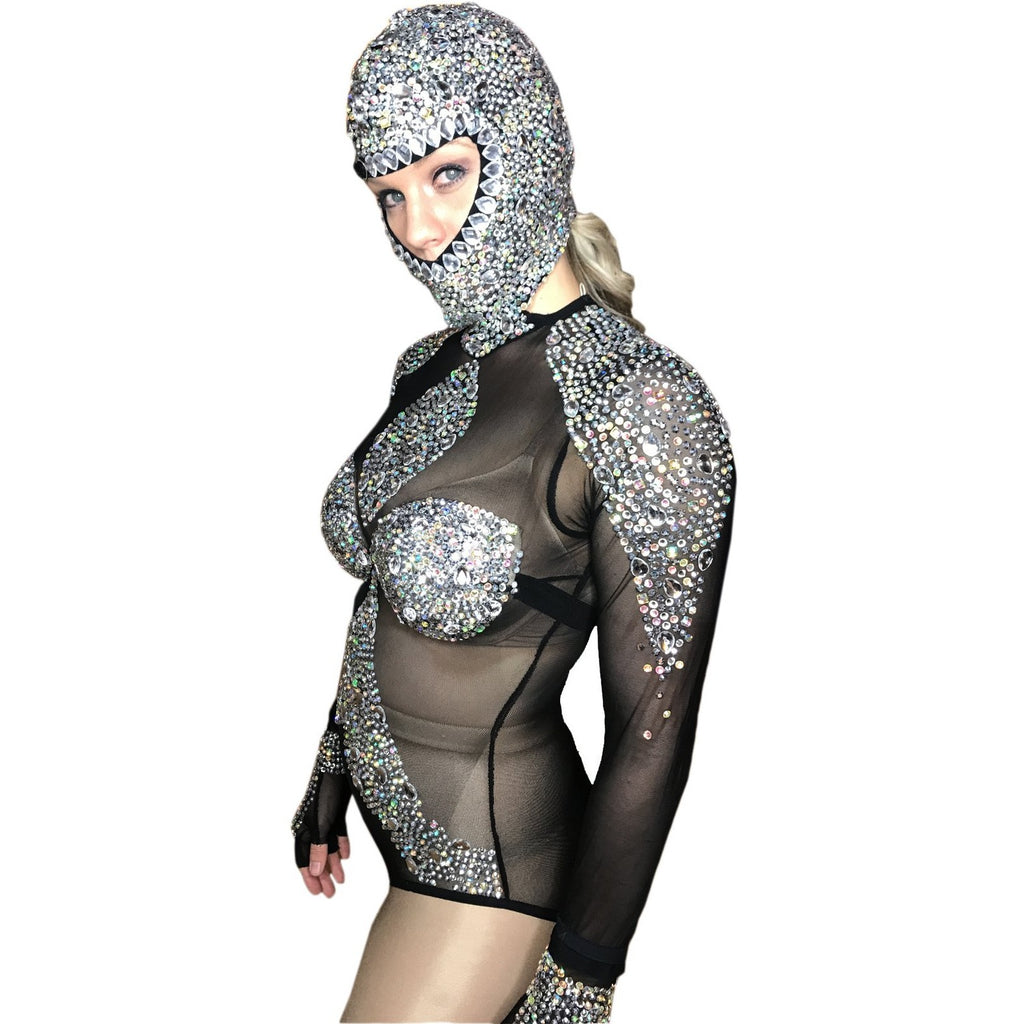a113650a097118 Black, Red, & White Crystals Rhinestones Bodysuit Sexy Dance Costume ...