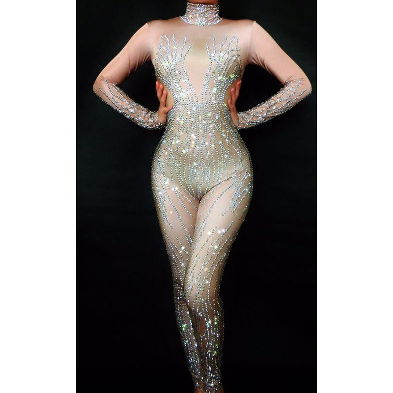 7f6021c6accee5 ... Sparkly Silver Rhinestones Nude Bodysuit Full Crystals Jumpsuit -  XOXOcostumes ...