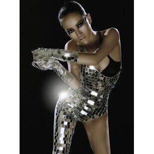 ab092eb402ec8 ... Silver Or Green Mirrors Bodysuit With Arm And Leg Cutout Sexy Dance  Costume ...