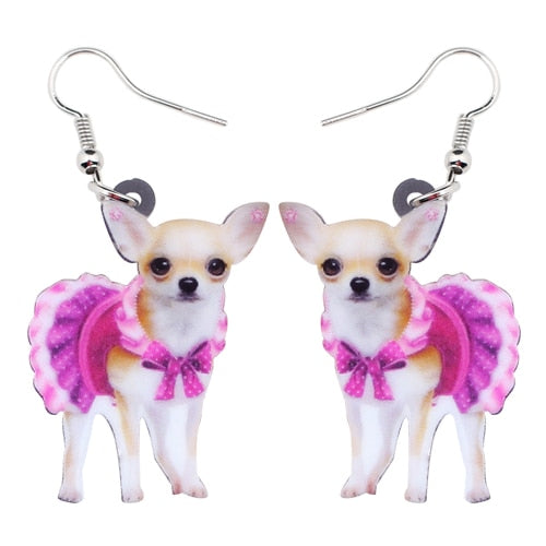boucles d'oreilles  Pink Dress Chihuahua