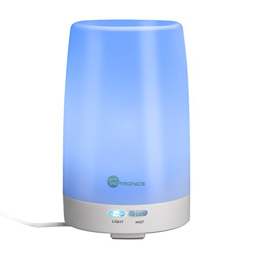 TaoTronics Essential Oil Diffuser, 100ml Ultrasonic Humidifier Portable Aromatherapy Diffuser, Aroma Diffuser with Cool Mist and Color Changing LED Lights, Silent Buttons