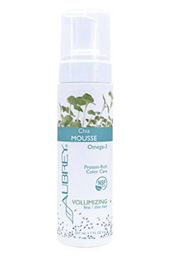 Aubrey Organics Chia Mousse - Volumizing NSF All natural lightweight foam helps strengthen fine or thin hair, increases body and fullness and protects hair from heat styling damage 7 oz