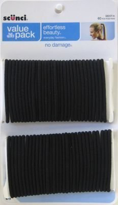 Scunci 58007 Black No Damage Hair Elastics 60 Count