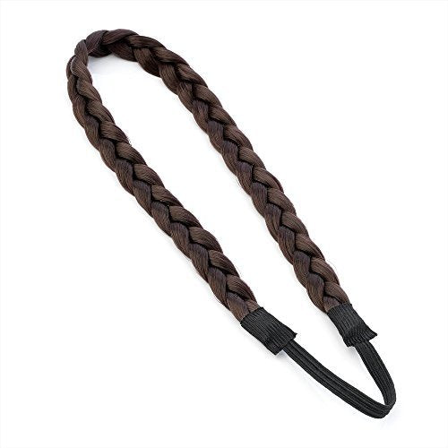 Dark Brown Synthetic Plaited Hair Elastic Headband Platted Hair Band by Pritties Accessories by Pritties Accessories