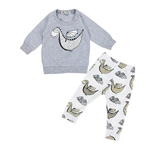 Efaster Baby Fashion Sweatshirt Top Pant Outfit Clothes Cartoon Dinosaur Sweater (6M)