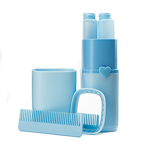 Eslite Toothbrush Toothpaste Organizer Travel Wash Supplies Plastic (Blue)
