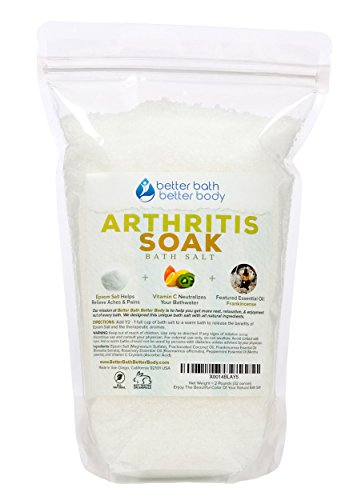 Arthritis Bath Salt 2 Pounds (32 Ounces) - Epsom Salt Bath Soak With Frankincense Essential Oil & Vitamin C - Get Arthritis Relief With This Natural Bath Soak - All Natural No Perfumes No Dyes