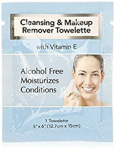 Cleansing and Makeup Remover Wipes with Vitamin E, 60 Pack (in Organza Bag)