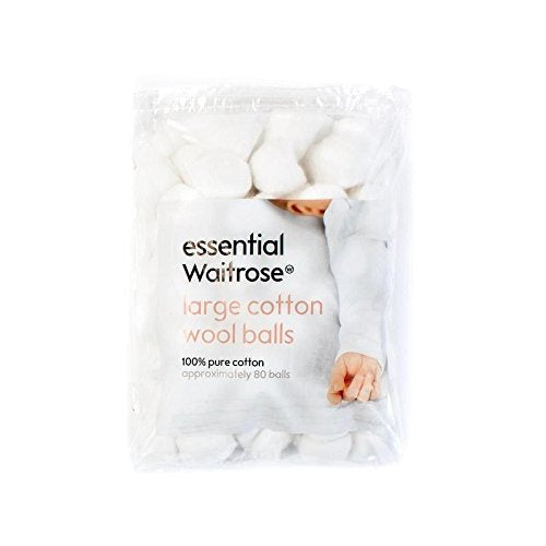 Baby Large Cotton Wool Balls essential Waitrose 80 per pack - Pack of 6