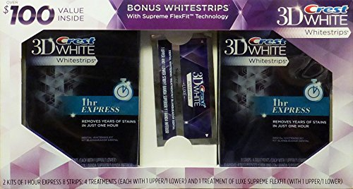 Crest 3Dwhite Whitestrips 1 Hour Express Dental Whitening Kit - 2 Pack + Bonus Supreme FlexFit Whitestrips