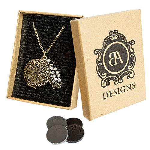 BA Designs Oil Diffuser Necklace with 4 Leather Discs 30 Chain with Diamond Leaf - Antique Bronze
