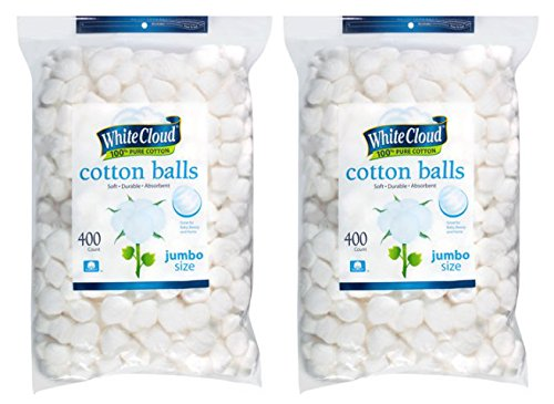 White Cloud Cotton Balls, Large Jumbo Size, 400 Count Packages, 2 Pack (Includes 800 Big Plus Size Jumbo Cotton Balls Total)