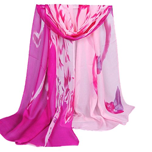 Datework Women Long Soft Wrap Shawl Chiffon Scarf (Hot Pink)