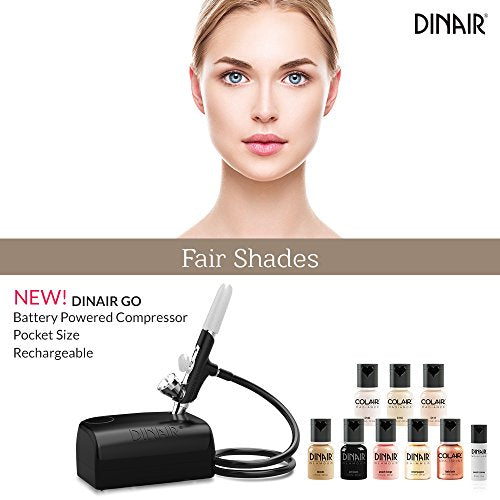 Dinair Travel & Go Starter Kit | Battery Powered Portable Airbrush Makeup System | Fair Shades | Foundation, Blush, Bronzer Set