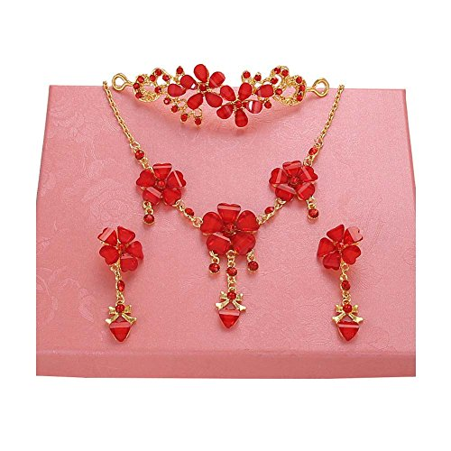 Handmade Red Wedding Bridal Jewelry Hair Style Accessories Earrings Sets, #05