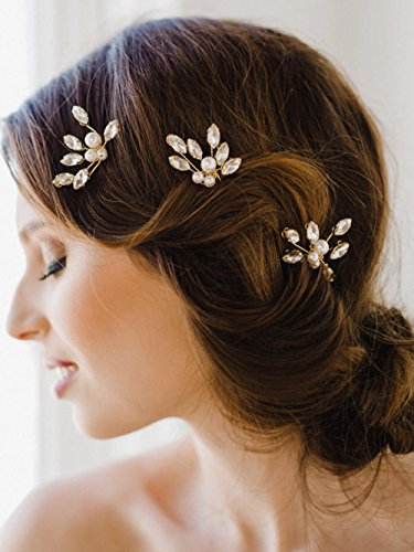 Bridalvenus Gold Bridal Hair Pins Set, Wedding Rhinestone Hair Pin for Women and Girls (Set of 3)