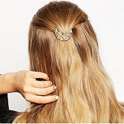 Joyci 1Pcs Women's Gold Moon Hairpin Hair Clip Clamp Barrettes Bobby Pin Ponytail Holder (B Gold)