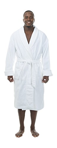Comfy Robes Personalization Men's Terry Velour Shawl Collar Bathrobe, L/XL White
