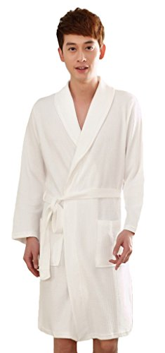 Youhan Men's Spring and Summer Cotton Fitted Nightshirt Medium White